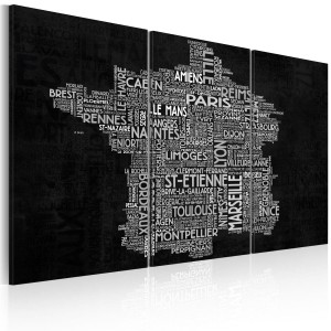 Obraz - Text map of France on the black background - triptych