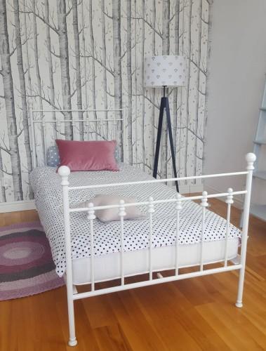 łóżko Metalowe Białe Młodzieżowe Dziecięce Classic 90x200 120x200
