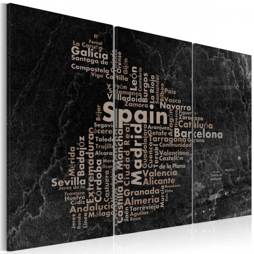 Obraz - Text map of Spain on the blackboard - triptych