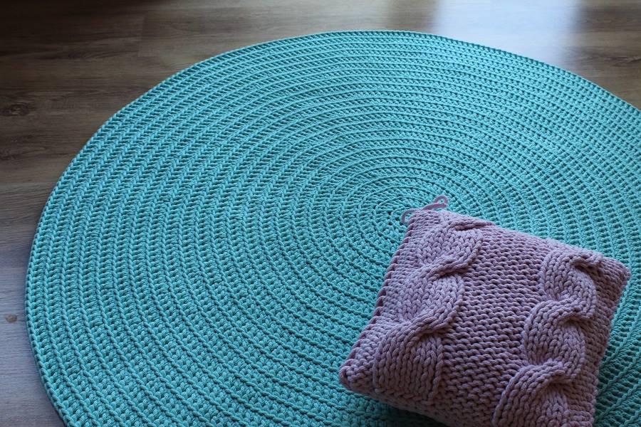 Bardzo dobryFantastyczny Dywan ręcznie tkany, okrągły, Morski - Bogate Wnętrza UT87