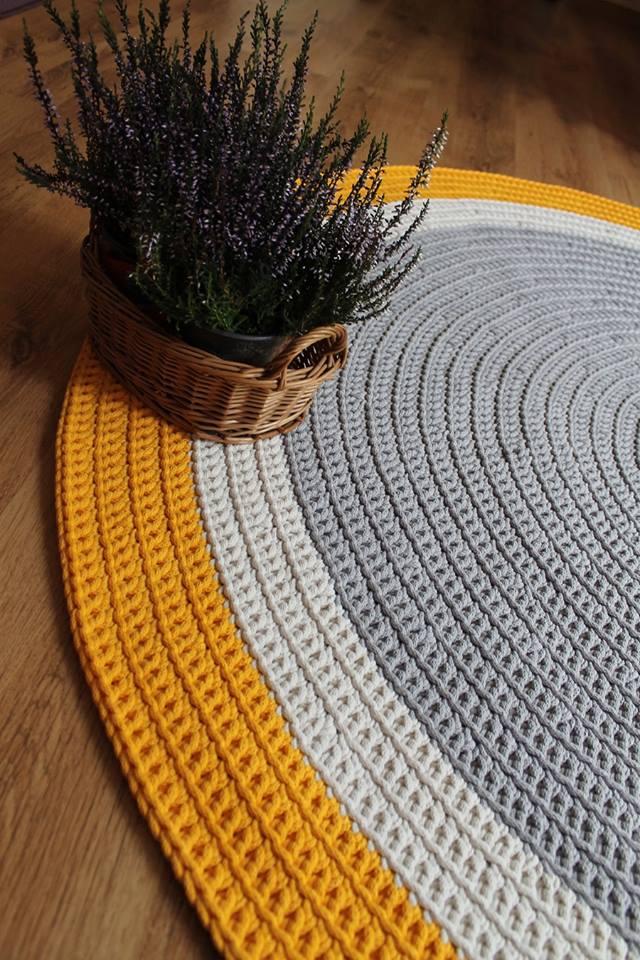 Dywan Ręcznie Robiony Z Bawełnianego Sznurka Szaro żółty
