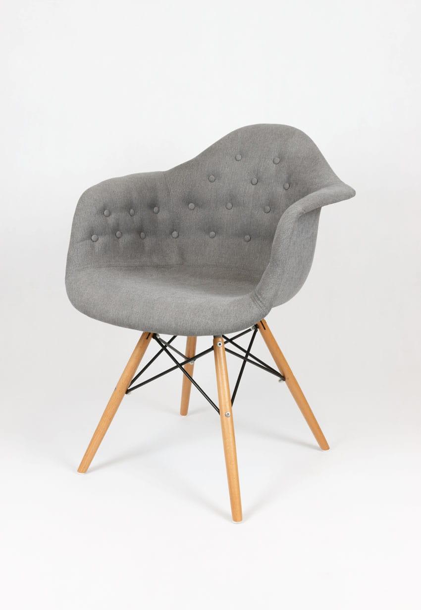 Krzesło Tapicerowane Pikowane Z Podłokietnikami Guzik Bogate Wnętrza