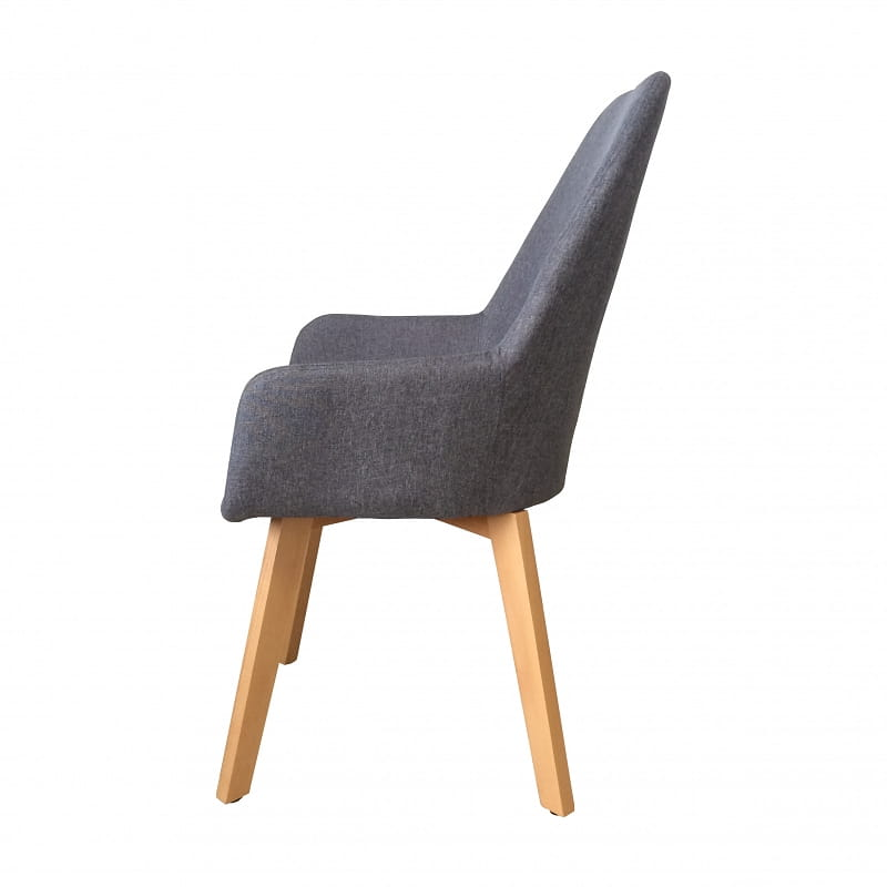 Krzesło Tapicerowane Z Podłokietnikami Oaza Ii Szare Bogate Wnętrza