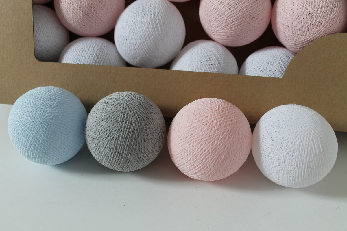 COTTON BALL LIGHTS PASTEL CANDY