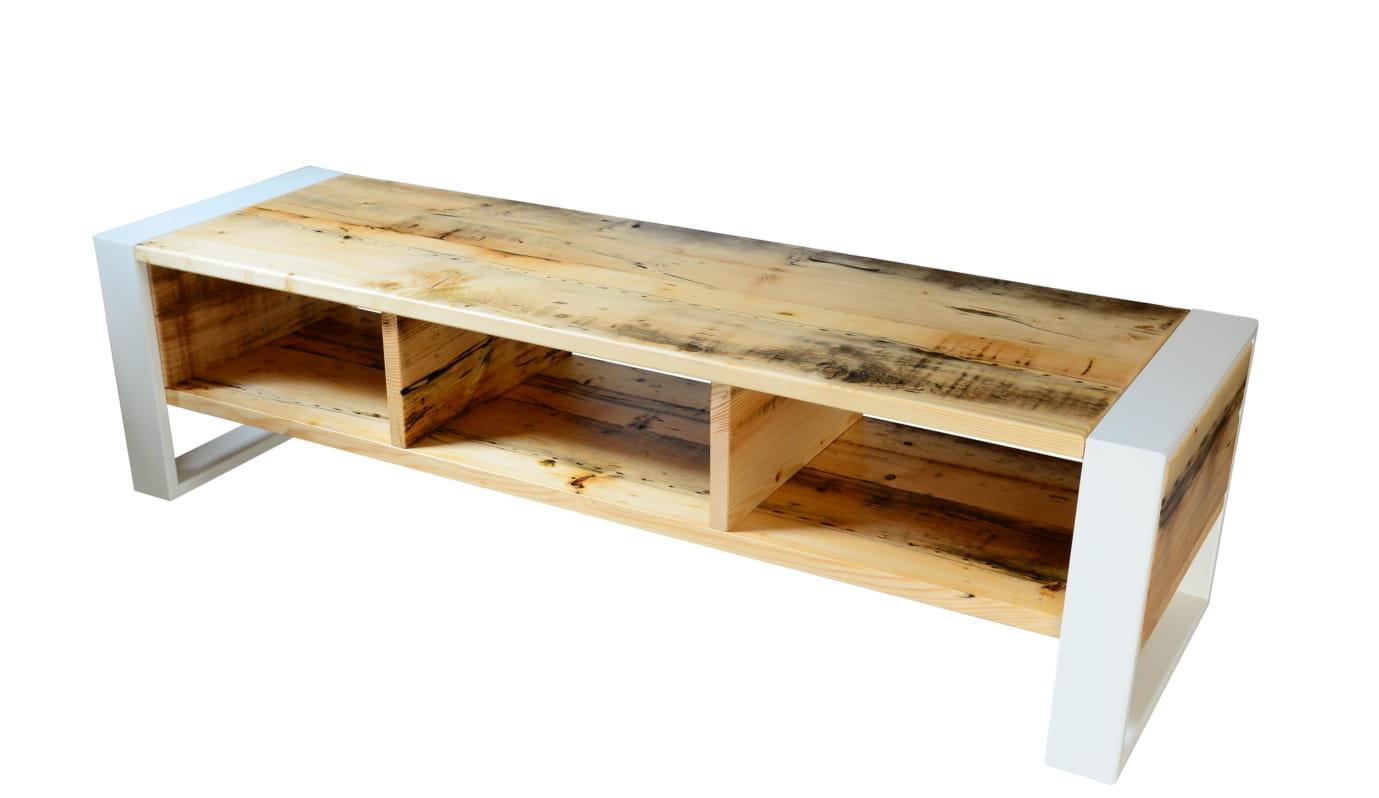 Dodatkowe Szafka RTV drewno otwarte półki - Bogate Wnętrza ZN11